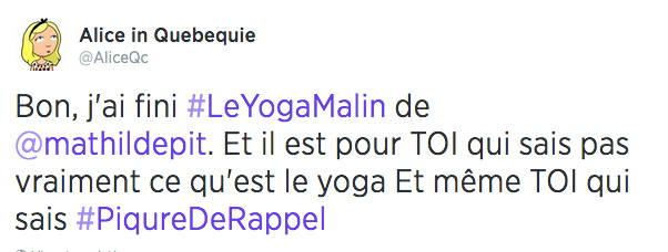 message livre yoga malin