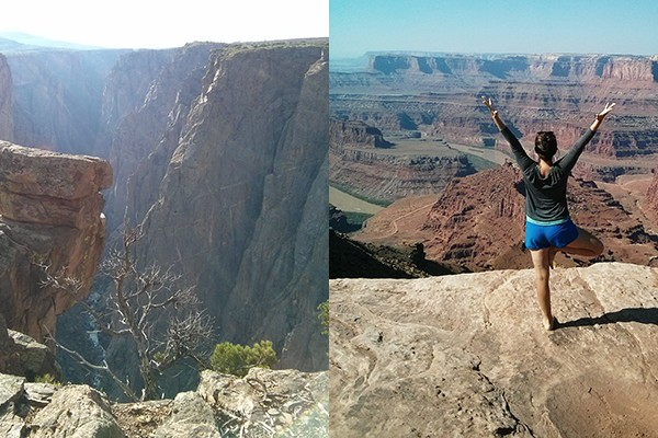 Camping et yoga - tree pose devant un canyon